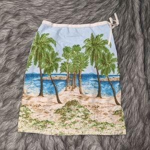 Liz Claiborne beach scene skirt